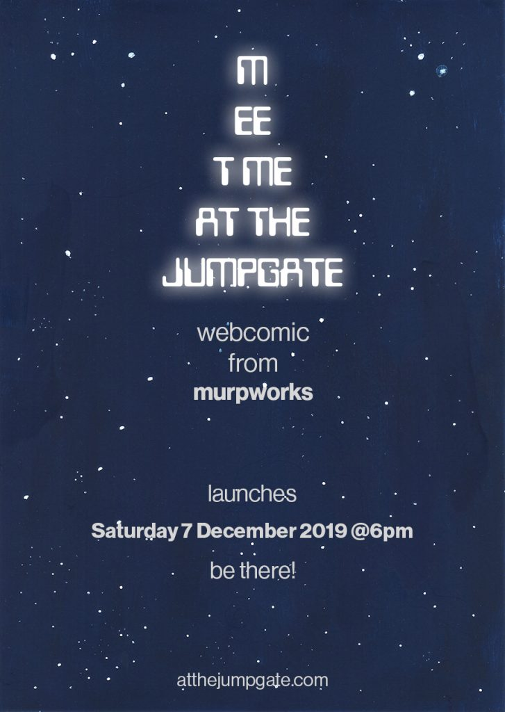 MEET ME AT THE JUMPGATE webcomic launch poster image
